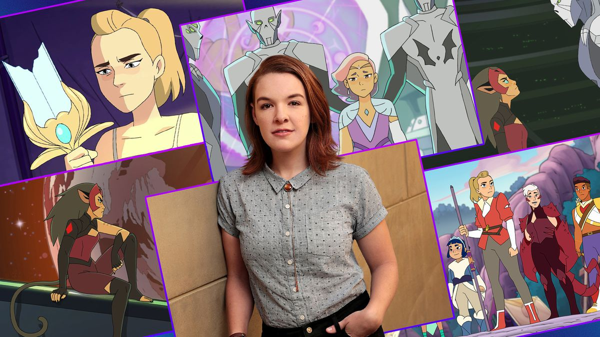 Grid with different images from the She-Ra animated series and a portrait of Noelle Stevenson in the center