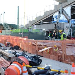 10:22 a.m. Another view of the utility work on Waveland Avenue, near Gate K -