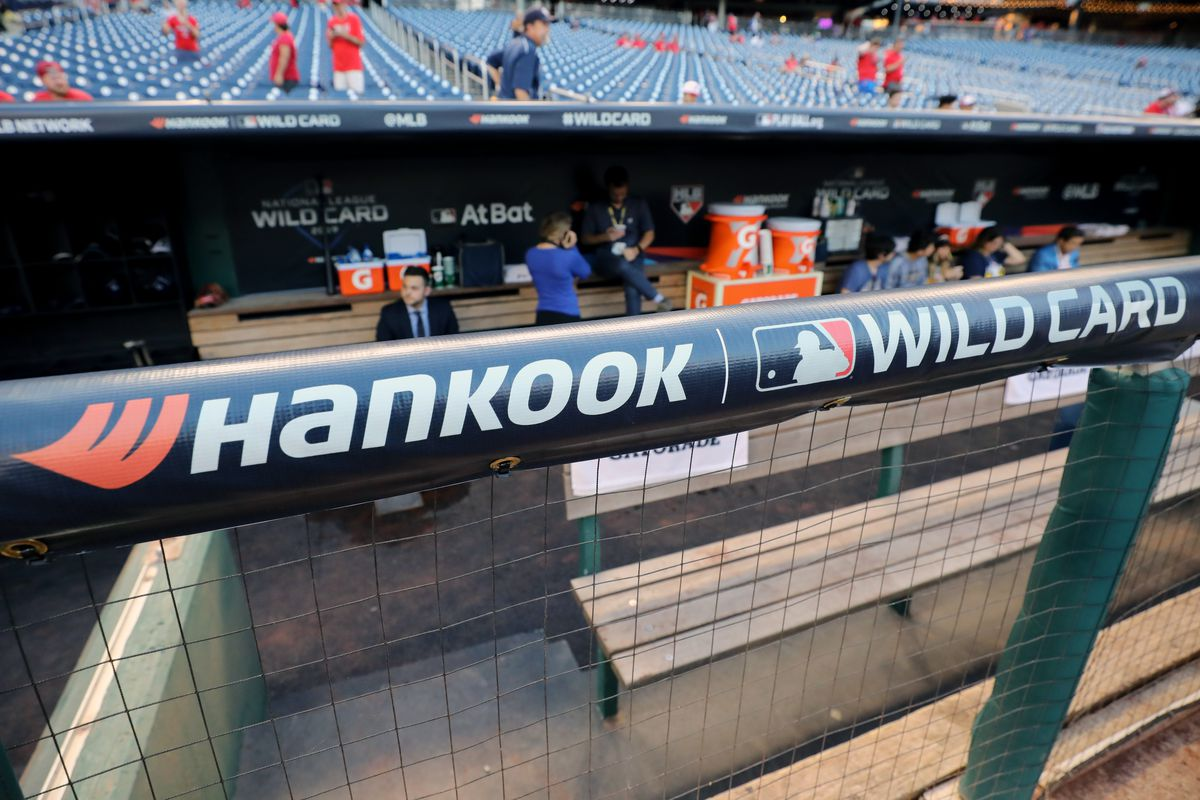 A detail shot of the Hankook logo on the dugout railing prior to the NL Wild Card game between the Milwaukee Brewers and the Washington Nationals at Nationals Park on Tuesday, October 1, 2019 in Washington, District of Columbia.