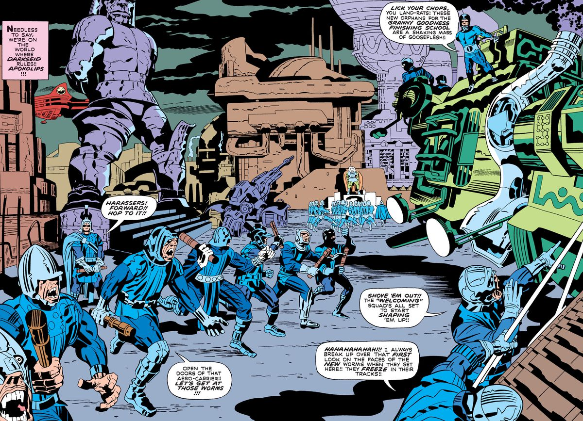 New arrivals are greeted at Granny Goodness' orphanage on Apokolips, in Mister Miracle #7 (1971), DC Comics