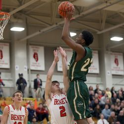 Stevenson's Robert Holmes (23) scores over Benet Academy's Bennett Hickey (2) in their 63-59 loss in Lisle, Saturday, February 16, 2019.   Kevin Tanaka/For the Sun Times