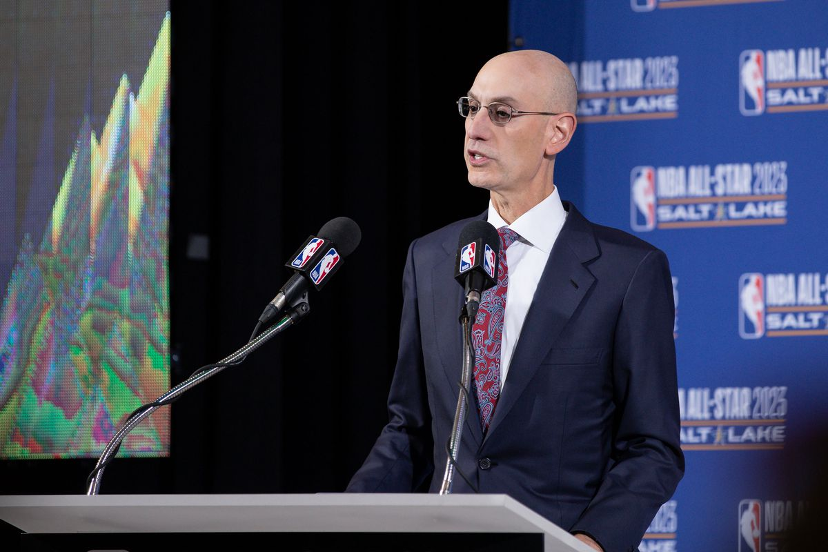 NBA Commissioner Adam Silver speaks to the press during the 2023 NB All-Star announcement at Vivint Smart Home Arena.