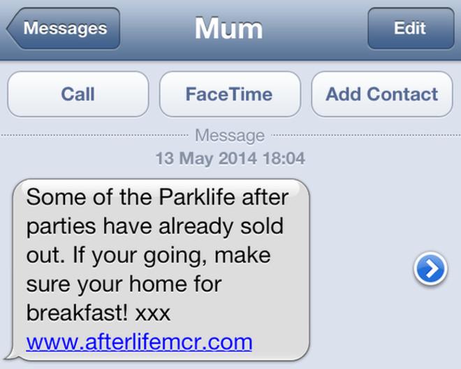 manchester parklife text message