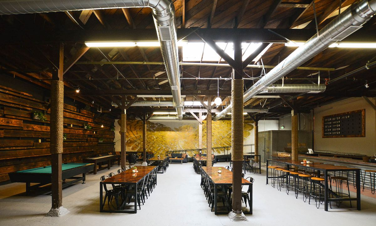 A large warehouse space used to make craft beer.