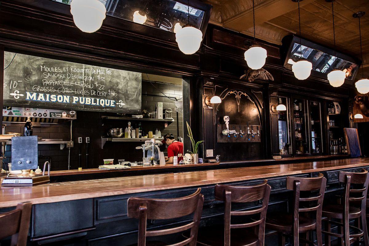 The popular restaurant Maison Publique is on a residential Plateau street