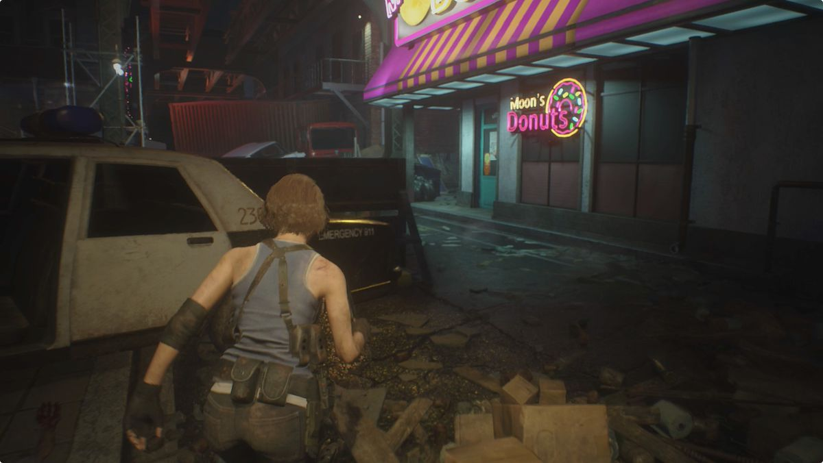 Resident Evil 3 Downtown streets Moon Donuts Donut Shop