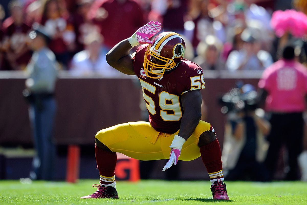 LANDOVER, MD - OCTOBER 16:   London Fletcher #59 of the Washington Redskins reacts after a play against the Philadelphia Eagles during a game at FedExField on October 16, 2011 in Landover, Maryland.  (Photo by Patrick McDermott/Getty Images)