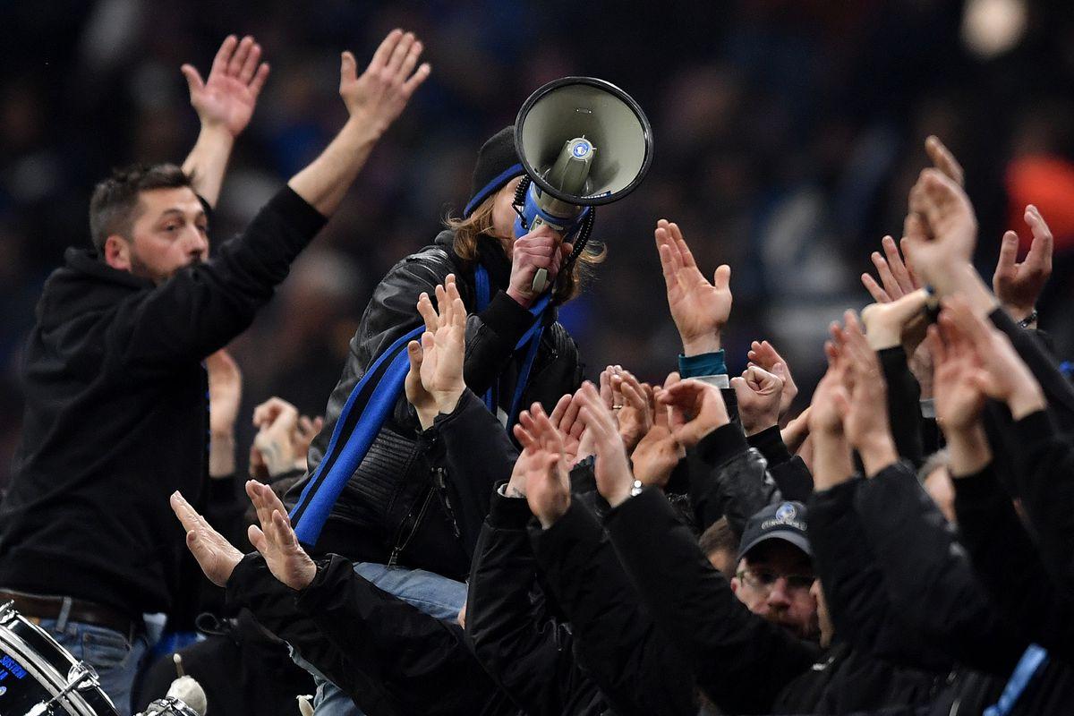 Atalanta fans cheer on before the UEFA Champions League...