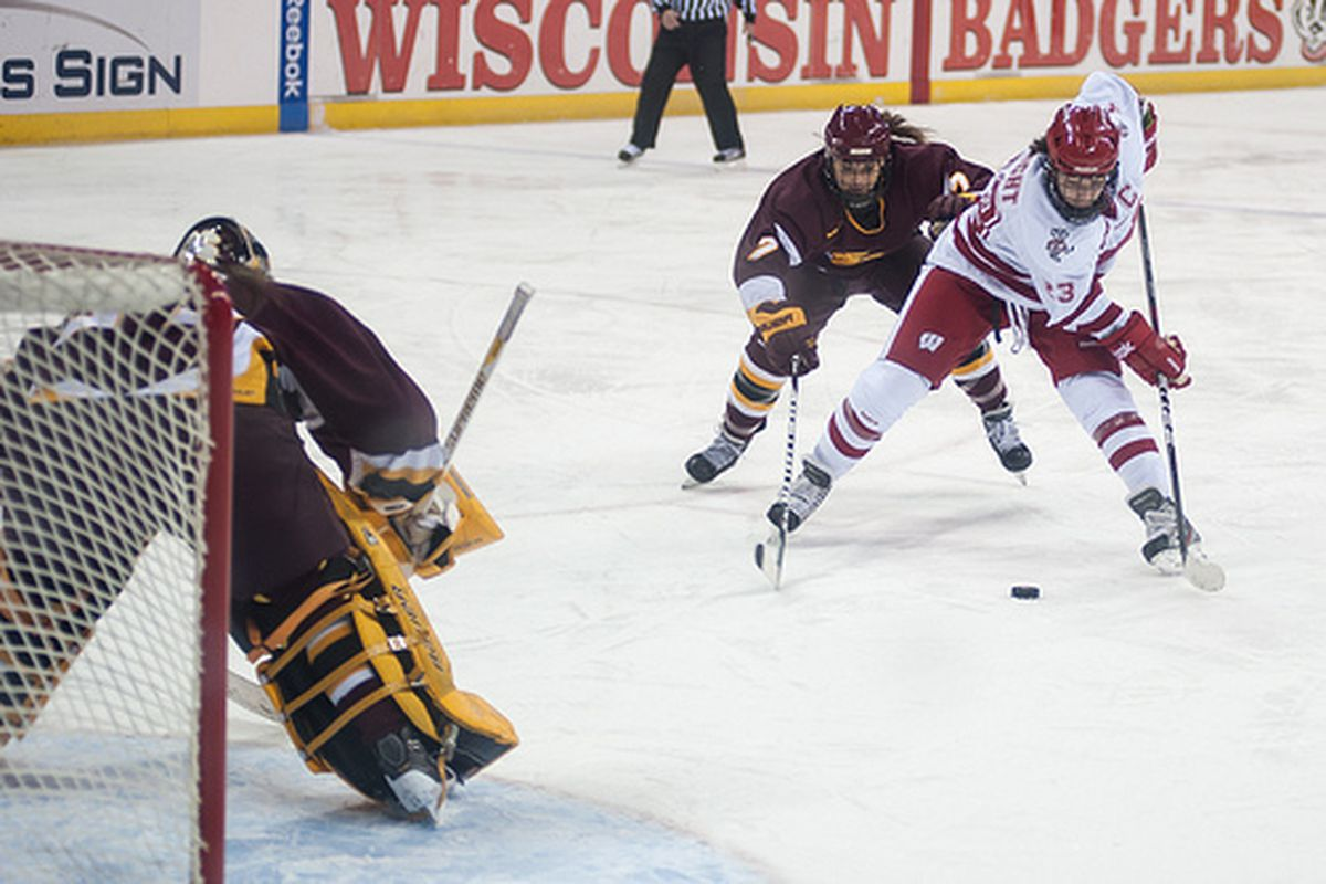 """Wisconsin captain Hilary Knight will look to lead the Badgers over the Eagles in the Frozen Four for the second consecutive season. (via <a href=""""http://www.flickr.com/photos/markkauzlarich/6799348274/"""">Mark Kauzlarich</a>)"""