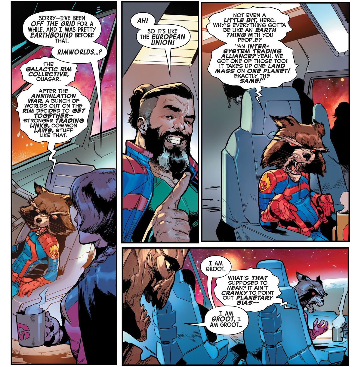 """Rocket Raccoon goes on a sarcastic little tirade about how you can't just compare things in space to things on Earth. """"'An inter-system trading alliance? Yeah, we got one of those too! It takes up one land mass on one planet! Exactly the same!"""" after Hercules compares the Galactic Rim Collective to the European Union in The Guardians of the Galaxy #15 (2021)."""