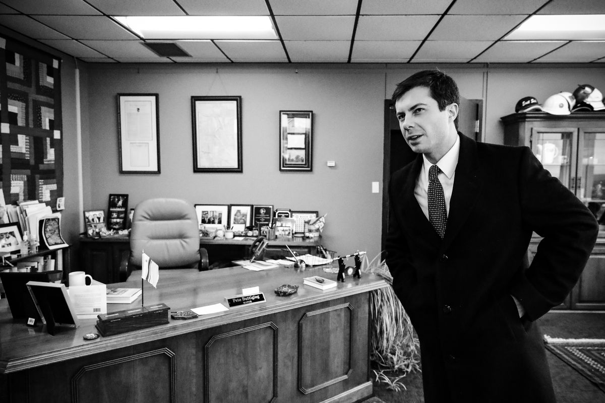 Mayor Pete Buttigieg talks with a reporter at his office in South Bend, Ind., on January 10, 2019.