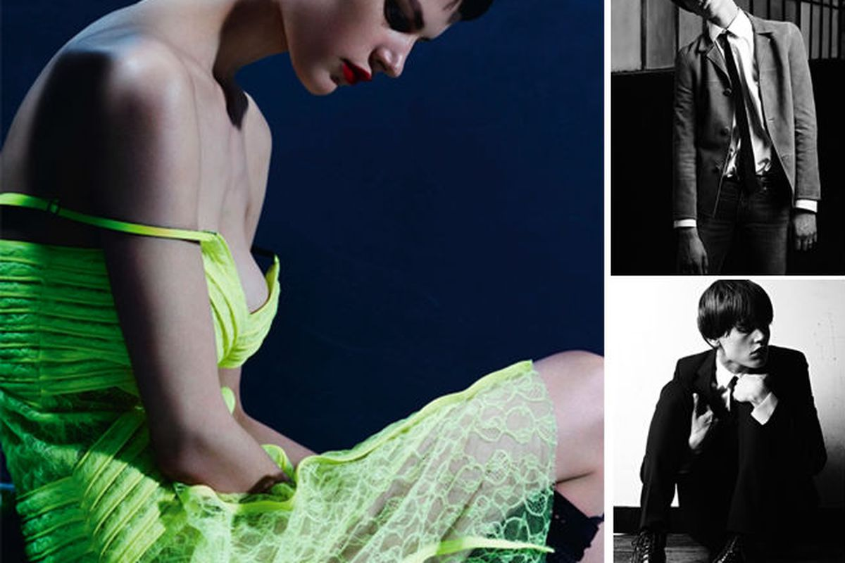 "Saskia de Brauw in <a href=""http://i-donline.com/2012/12/i-n-conversation-saskia-de-brauw/"">i-D</a> and images from Hedi Slimane's menswear lookbook."