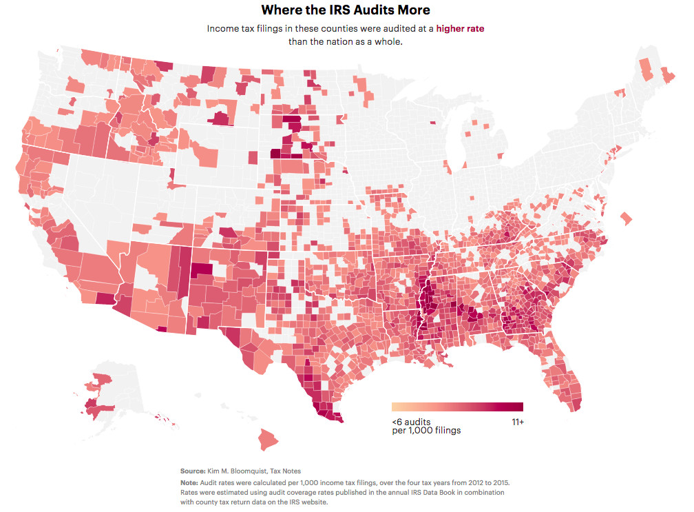Map of US counties by IRS audit rate