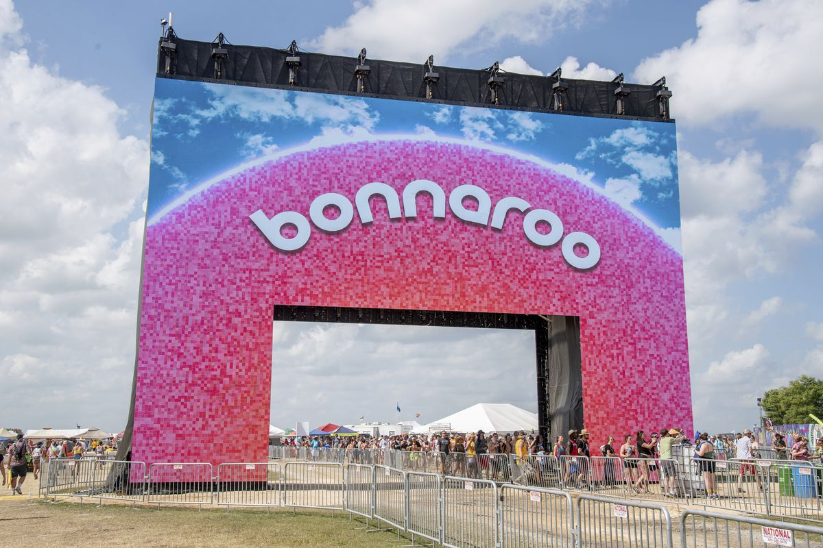 The new Bonnaroo arch appears at the Bonnaroo Music and Arts Festival on June 16, 2019, in Manchester, Tennessee.
