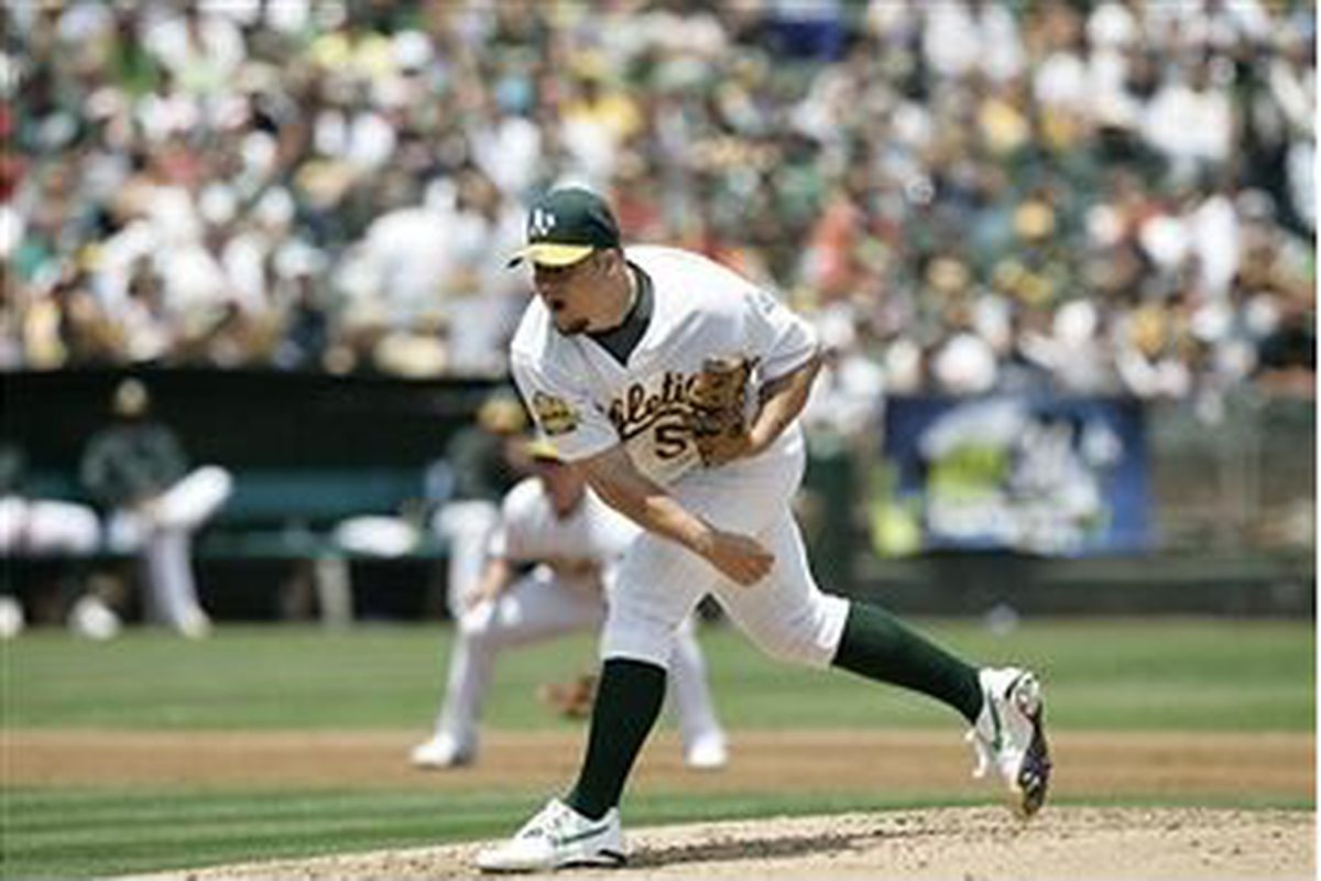 Joe Blanton, pitching for the Oakland Athletics in June, 2008 (Photo by Michael Zagaris, Getty Images)