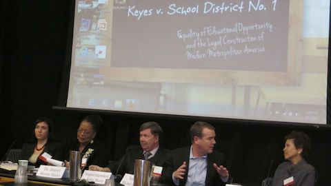 Panelists discuss continuing disparities in the state's public schools during a symposium Friday at DU.