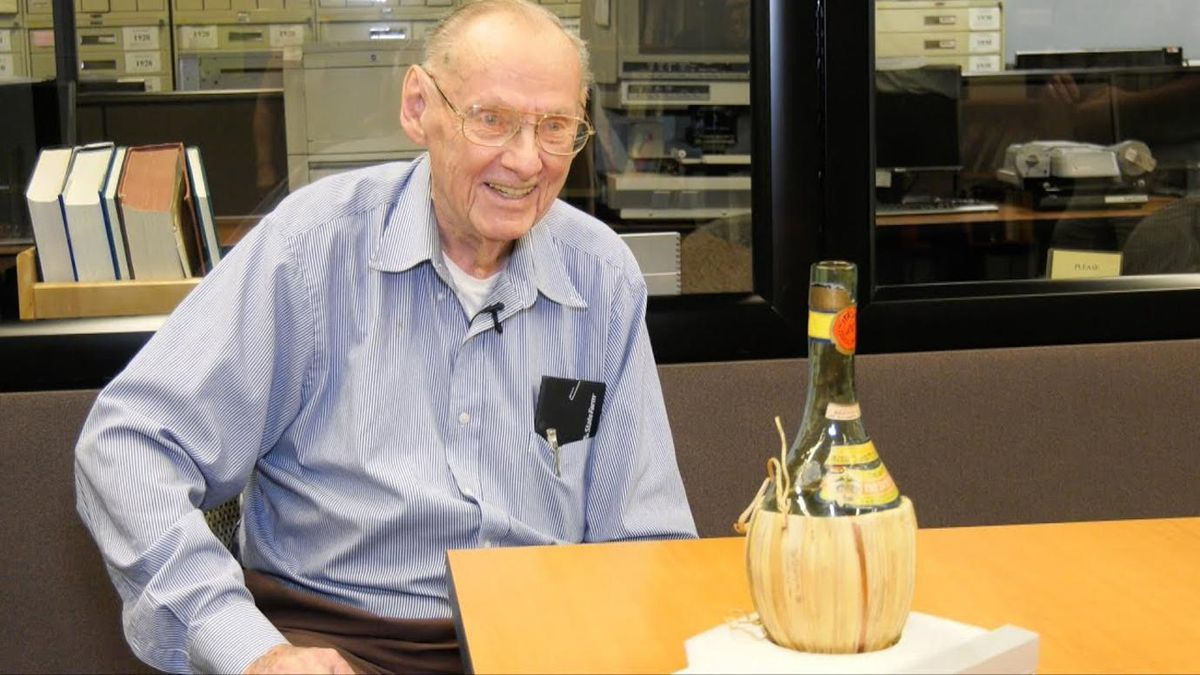 Ted Petry was a recent high school graduate when he worked on the breakthrough nuclear project at the University of Chicago. Afterward, the witnesses signed a Chianti bottle to commemorate the event.   Jean Lachat / University of Chicago