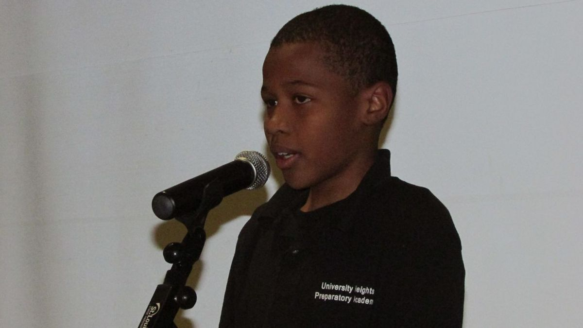 Ronald Boyd of University Heights Preparatory Academy, performs his poem.