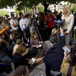 Elizabeth and Ed Smart speak to the media outside the federal courthouse in Salt Lake City after a judge sentenced Brian David Mitchell to life in prison on Wednesday, May 25, 2011.
