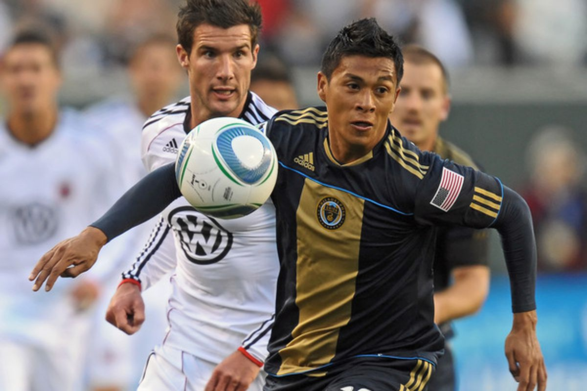 PHILADELPHIA - APRIL 10: Michael Orozco #16 of the Philadelphia Union chases down the ball during the game against D.C. United on April 10, 2010 at Lincoln Financial Field in Philadelphia, Pennsylvania. (Photo by Drew Hallowell/Getty Images)