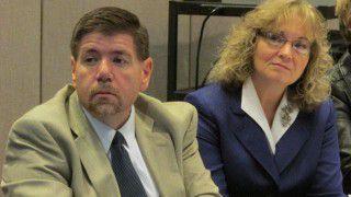 State board member Brad Oliver and Superintendent Glenda Ritz listen to a presentation at Wednesday's meeting. (Scott Elliott)