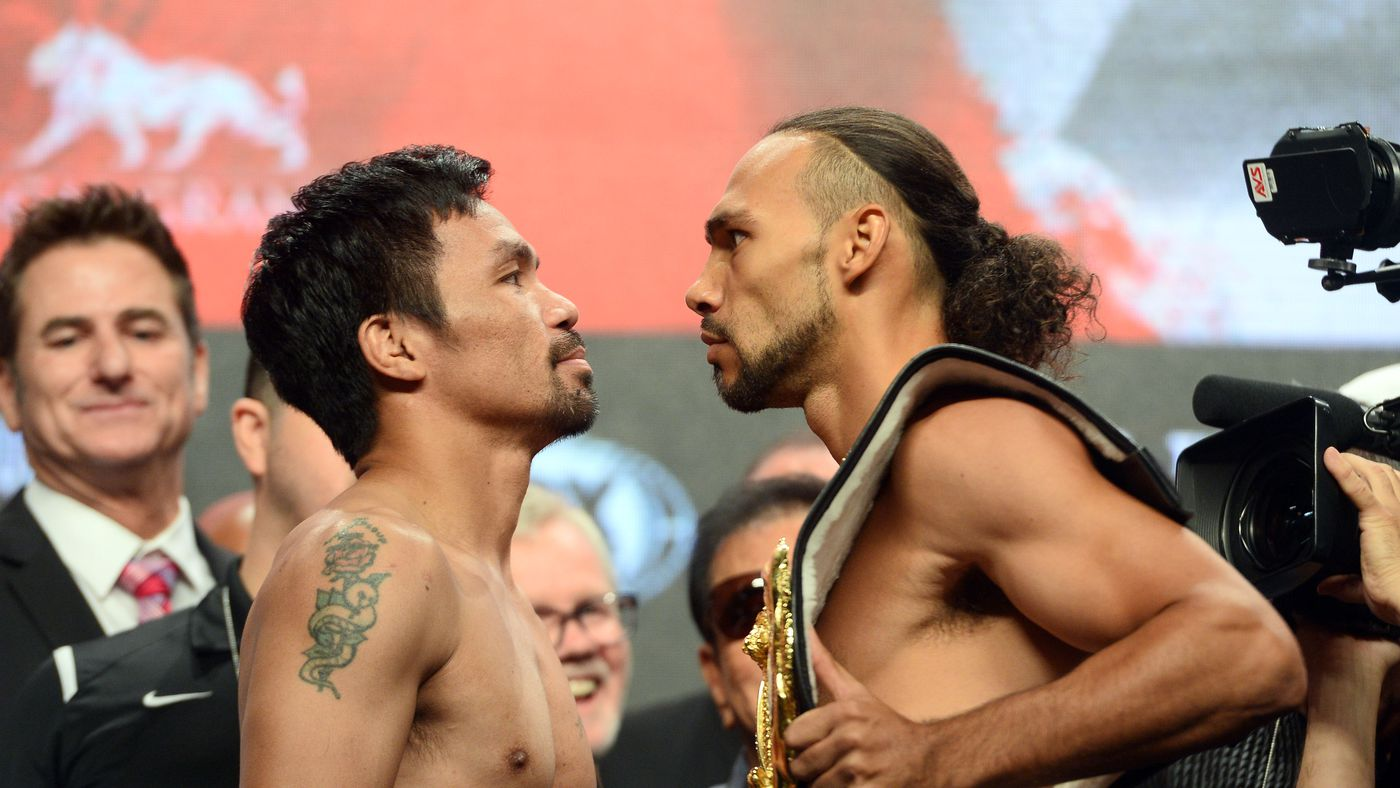 Watch Manny Pacquiao vs. Keith Thurman staredown video from official weigh ins