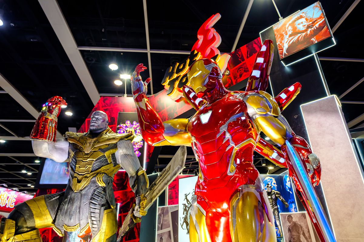 Avengers 4 iron-man and baddie thanos replicas at the at the...