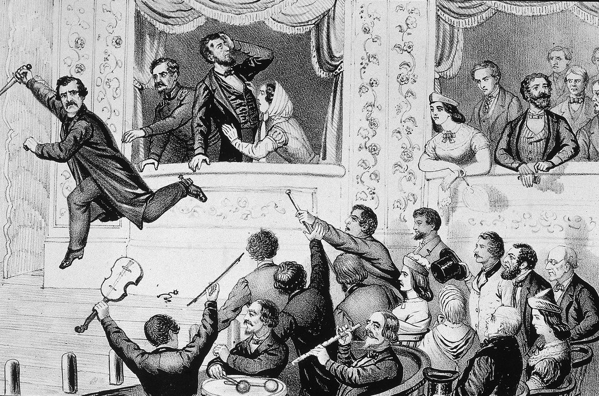 An illustration depicts Booth jumping to the stage.