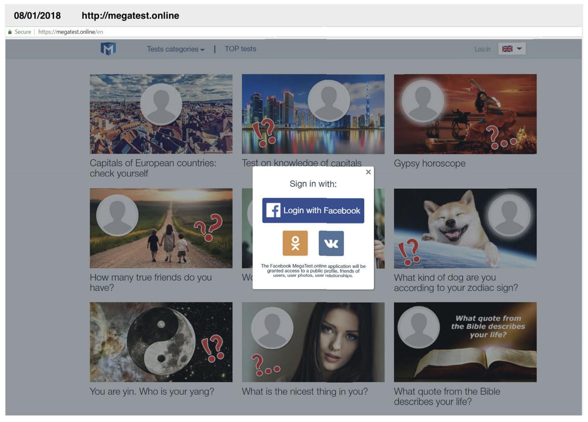 Facebook personality quiz malware