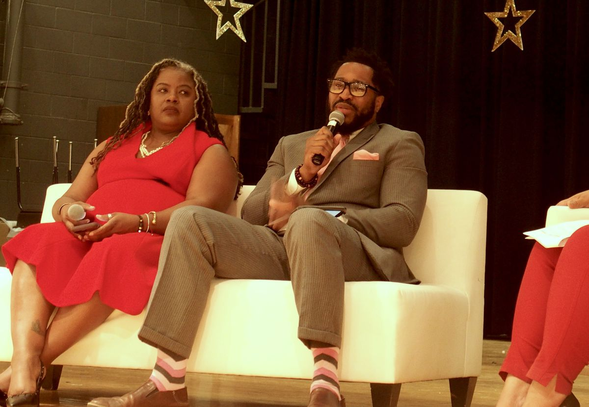 Rosiland Davis, left, handles the district's discipline and enrollment and Timothy Terry is a therapist who got his start in alternative schools. They spoke Thursday during a mental health panel event at Whitehaven High School.