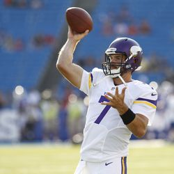 Aug 16, 2013; Orchard Park, NY, USA; Minnesota Vikings quarterback Christian Ponder (7) passes the ball before the game against the Buffalo Bills at Ralph Wilson Stadium.