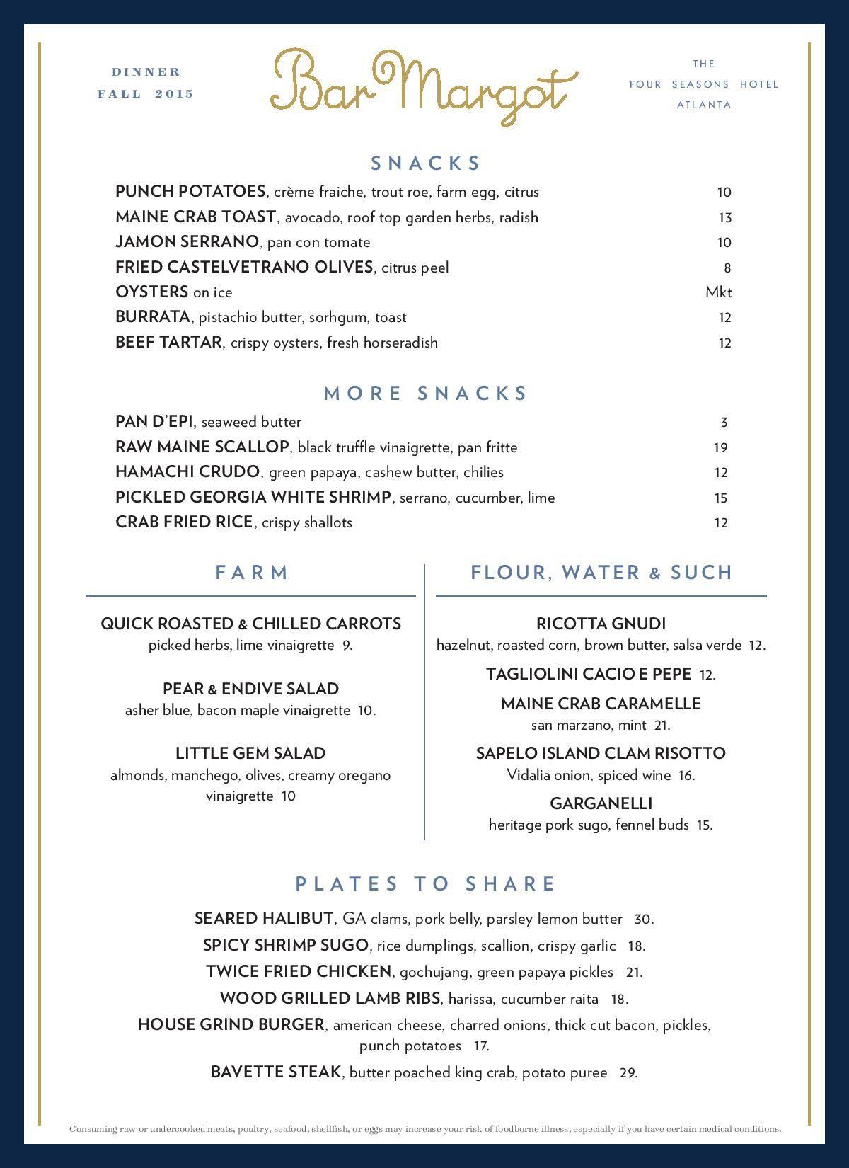 Bar Margot menu