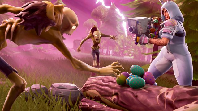 a woman in a gray bunny suit aims a weapon at a brown zombie in Fortnite