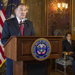 Utah Gov. Gary Herbert speaks Monday, Oct. 6, 2014, to members of the media at the state Capitol after the U.S. Supreme Court refused to hear appeals on lower court rulings that allowed same-sex marriages, making them legal in Utah and other states.
