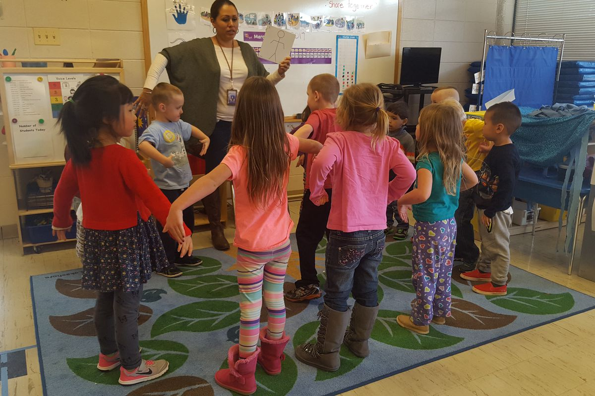 Preschoolers work on body movement exercises at Pleasant View Elementary March 6, 2017.