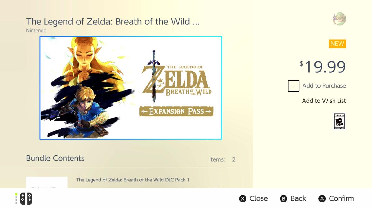 Nintendo Switch eShop - Zelda: Breath of the Wild Expansion Pass
