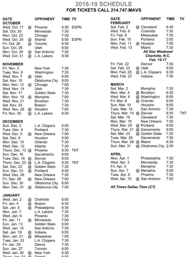 Mavericks Schedule 2019 Mavericks announce 2018 19 regular season schedule   Mavs Moneyball