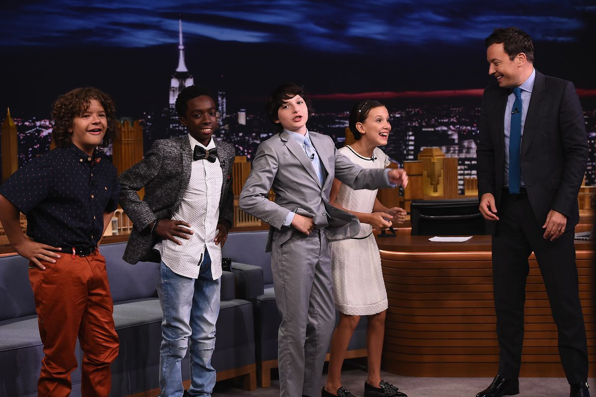 3783ac77f824a Finn Wolfhard, Millie Bobby Brown, Gaten Matarazzo and Caleb McLaughlin  Visit 'The Tonight