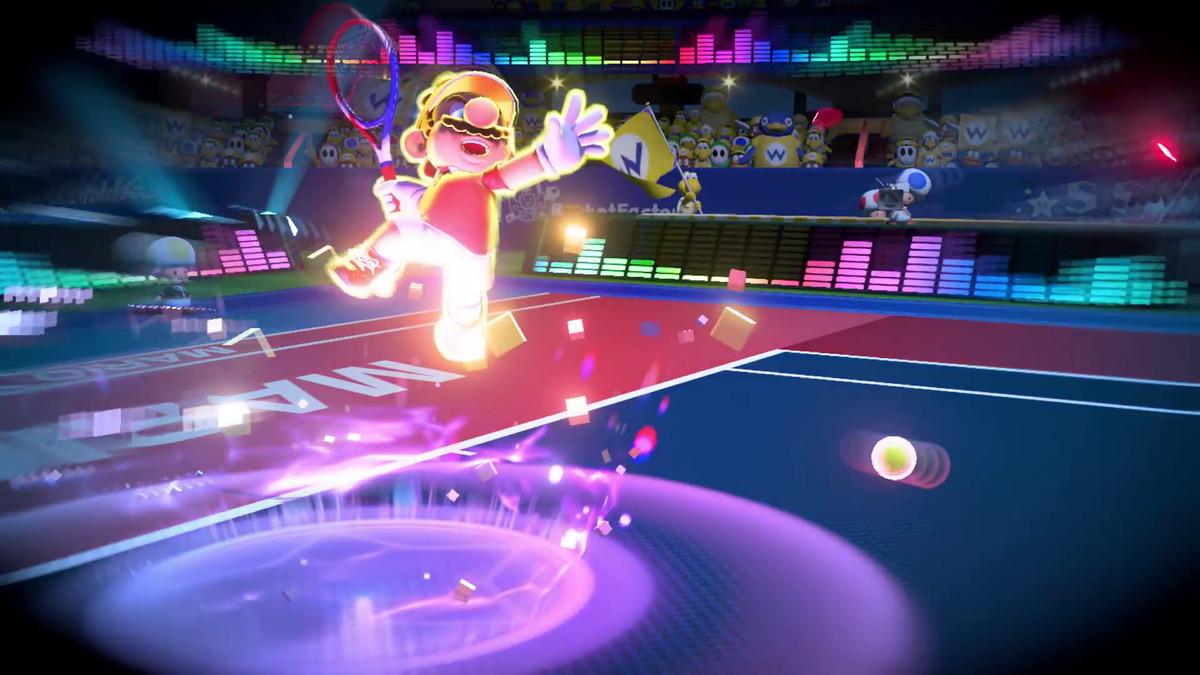 Mario Tennis Aces - Mario powers up a shot