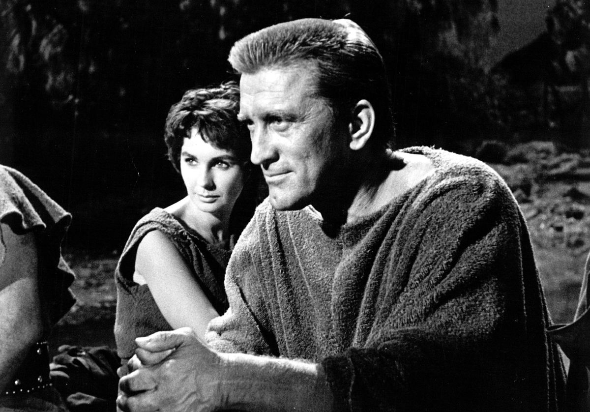 """Kirk Douglas and Jean Simmons are show in a scene from the 1960 film """"Spartacus."""""""