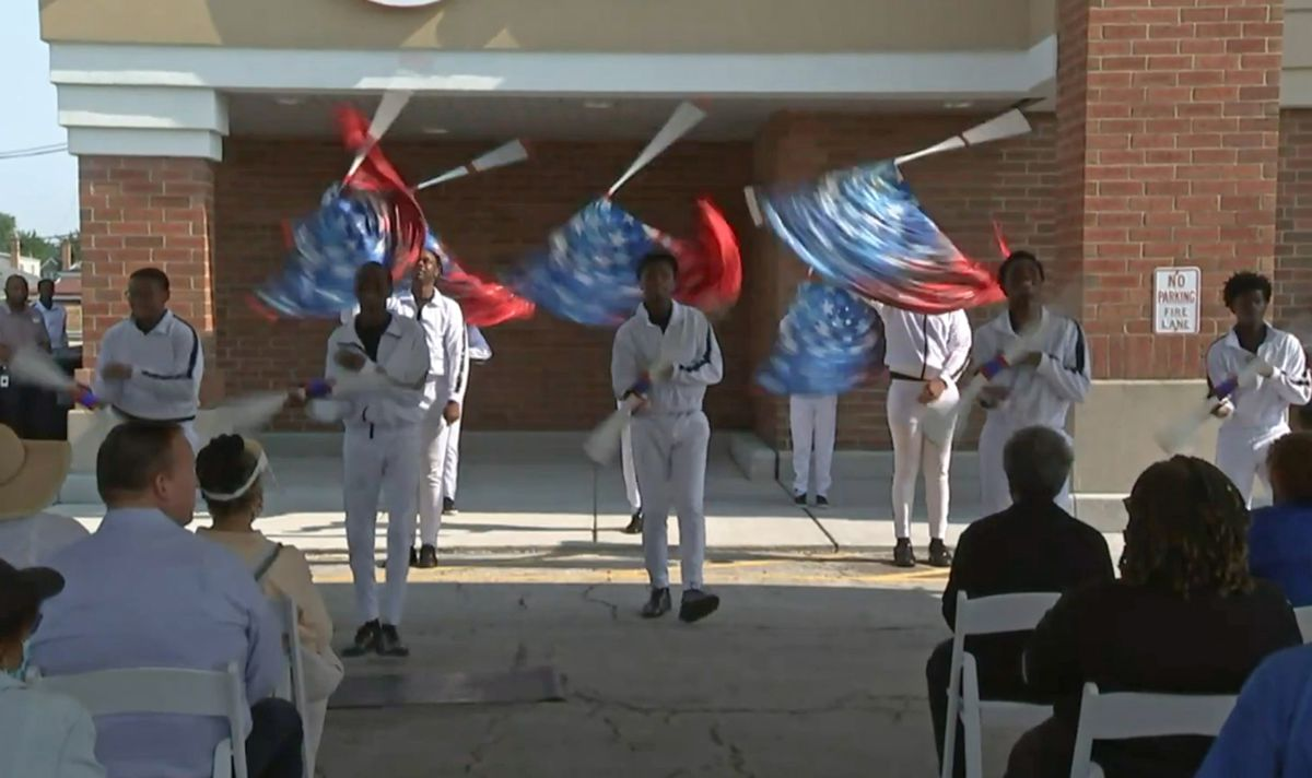 Members of the South Shore Drill Team performed at a ceremony on Wednesday, July 28, 2021 to reopen the renovated Jewel-Osco at 94th Street and Ashland Ave. The store had been closed since it was looted during civil unrest last summer that followed the murder of George Floyd in Minneapolis.