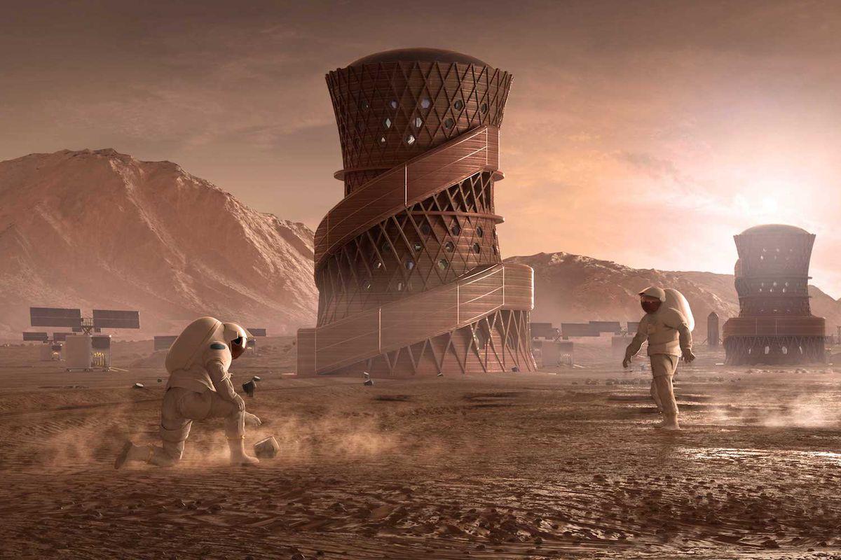 rendering of 3D-printed tower on Mars