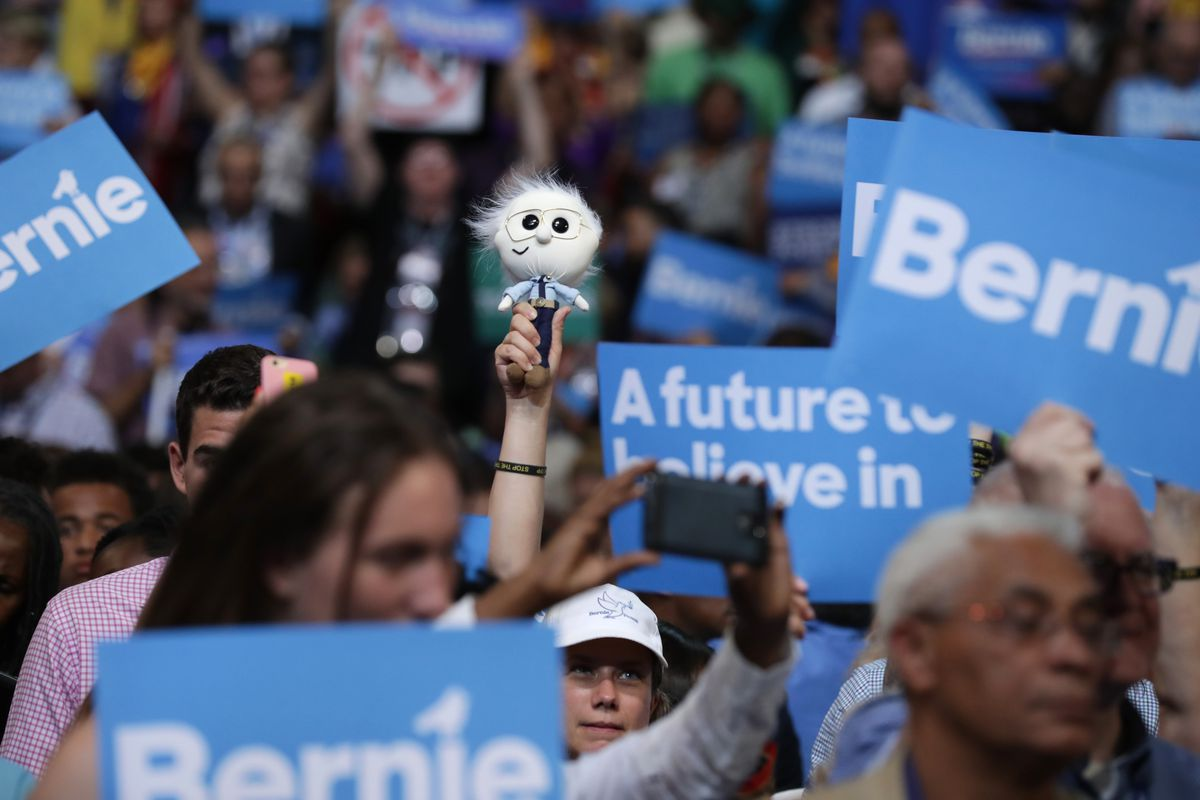 A Bernie Sanders supporter at the DNC convention Monday night.