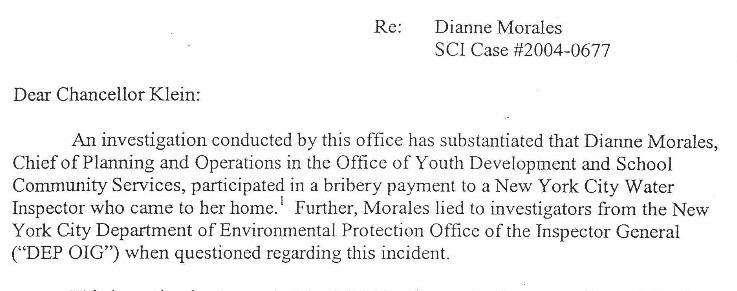 From a June 2004 letter from then-Department of Education Special Commissioner of Investigation Richard Condon to then-Schools Chancellor Joel Klein regarding Dianne Morales.