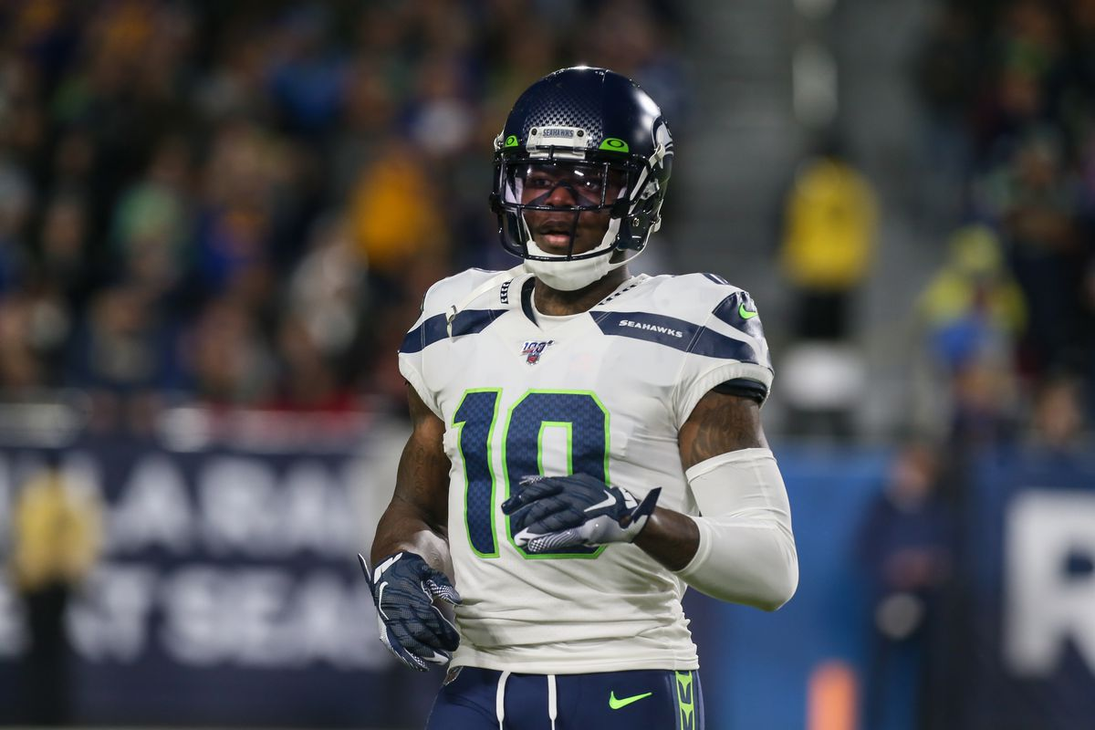 Seattle Seahawks wide receiver Josh Gordon during the NFL game between the Seattle Seahawks and the Los Angeles Rams on December 08, 2019, at the Los Angeles Memorial Coliseum in Los Angeles, CA.