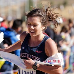 Carlee Hansen of Woods Cross takes first place in the 5A girls state cross-country championship race at Soldier Hollow in Midway on Thursday, Oct. 22, 2020.