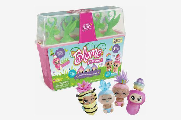 A product shot of four Blume Baby Pop toys outside of their nursery box