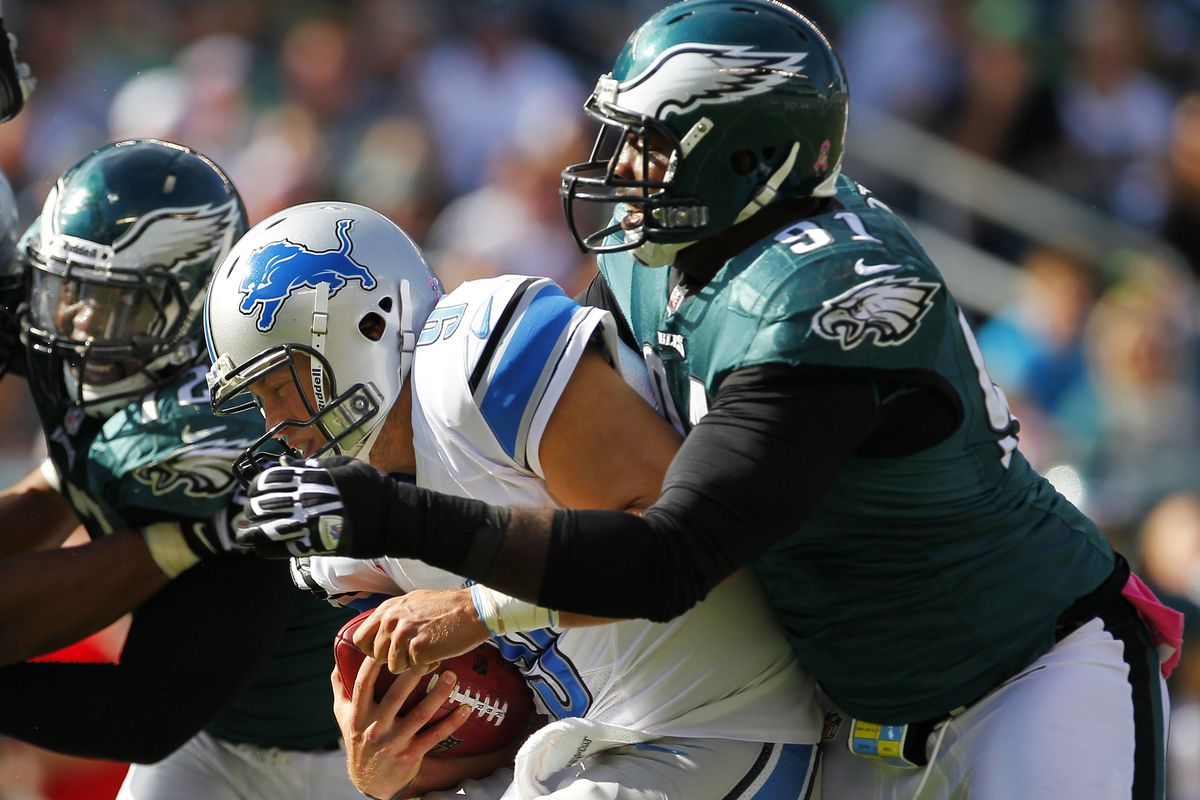 Stafford taken down from behind by Fletcher Cox