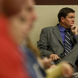 Weber County District Attorney Dee Smith watches the proceedings during the third day of Matthew David Stewart's preliminary hearing at 2nd District Courthouse in Ogden on Friday, Nov. 2, 2012.