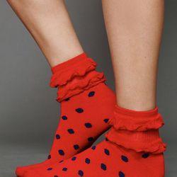 "<a href=""http://www.freepeople.com/ruffle-dot-ankle-sock/"">Ruffle Dot Ankle Socks</a>, $14 at Free People"